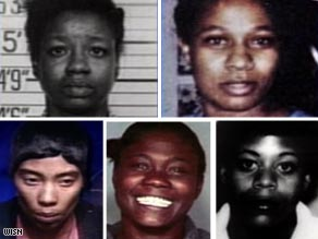 Five victims (clockwise from top left): Debora Harris, Joyce Mims