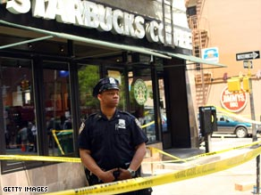 Monday's explosion shattered glass at the Manhattan Starbucks coffee shop. No one was injured.