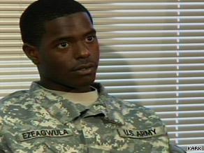 Pvt. Quinton Ezeagwula says he hopes to eventually become a drill sergeant.