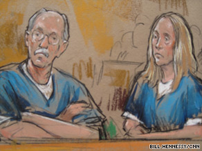 Walter Kendall Myers and his wife, Gwendolyn, appear in court last week in an artist's rendering.