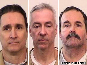 Lance Battreal, left, Mark Booher and Charles Smith escaped from an Indiana prison on Sunday.