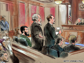 Ahmed Omar Abu Ali, seated far left, appears in an artist's rendering of a March 2005 court hearing.
