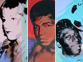 Stolen Warhols, clockwise: Dorothy Hamill, Kareem Abdul-Jabbar, Rod Gilbert, Willie Shoemaker.