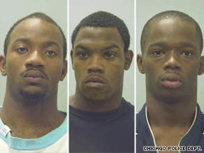 From left, Eugene Riley, Silvanus Shannon and Eugene Bailey have been charged with murder of 16 year old Derrion Albert.