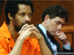 John Allen Muhammad listen to testimony from victims' relatives during his 2004 sentencing.