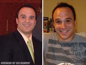 The left image shows Tim Kassouf in 2005 before he lost 45 pounds on the small changes diet.