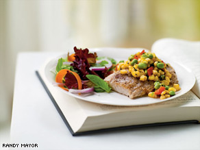Avoid portion distorition. This seared mahimahi (served with edamame succotash) is a respectable 6 ounces.