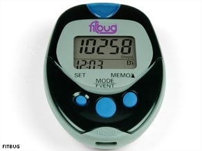 The Fitbug calculates the steps you take and calories you burn.