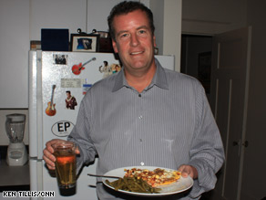 CNN's Sean Callebs with a meal he prepared living on a food-stamp budget.