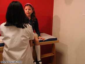 Nine-year-old Maddie Zacks visits her pediatrician to have her  blood cholesterol level checked.