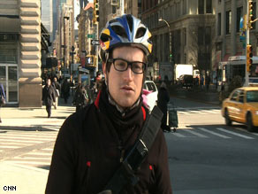 Bike messenger Austin Horse, 24, doesn't have health insurance. He says he's leery of the health care system.
