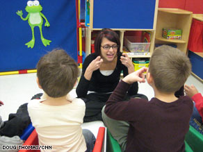 Certified special education teacher Stefanie Waldrop works with students at the Marcus Autism Center.