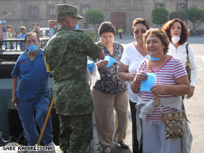 Mexican soldiers distributed 4 million masks on Sunday in Mexico City, which has 20 million residents.