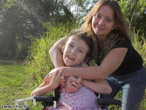 Sierra Journey Factor, 8, has a muscular disease that her mom, Shaylene Akery, hopes can be treated in China.