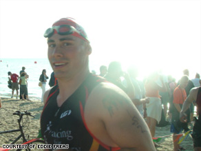 Eddie Freas fights drug addiction by putting all his energy into training for triathlons.