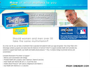 One A Day Men's 50+ Advantage ads say selenium may cut men's risk of prostate cancer, a consumer group says.