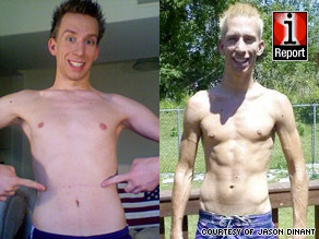 The left image shows Jason Dinant in January. The right one shows him six months after exercising and dieting.