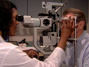 Ophthalmologist Dr. Sharon Solomon examined Albert Budacz  and found age-related macular degeneration.