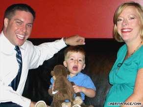 Eight months pregnant, Amy Wolf (shown with her husband and son) signed up for an H1N1 vaccine trial.