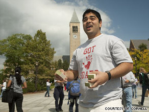 "Cornell student Vishnu Patel wears a ""Got Soap"" shirt as he spreads awareness about the flu."