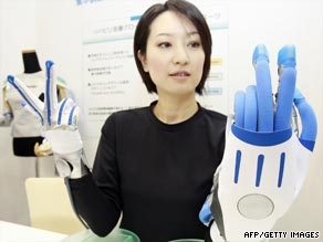 A prototype &quot;Finger Rehabilitation Glove,&quot; designed to aid recovery from paralysis.