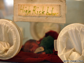 A premature baby rests at a hospital in Kabul, Afghanistan, in October 2007.