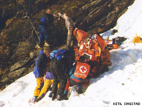 Rescuers worked frantically to save Anna Bagenholm from a hole in the ice of a mountain stream.