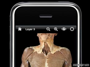 "The iPhone app, ""Anatomy Lab,"" allows the user to move between 40 body layers to enable dissection."