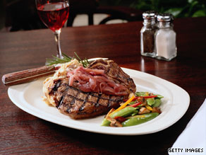 Steakhouse portions often exceed the recommended five to seven ounces of animal protein per day.