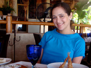 CNN producer Valerie Streit enjoys a meal during her sort-of-relaxing vacation.