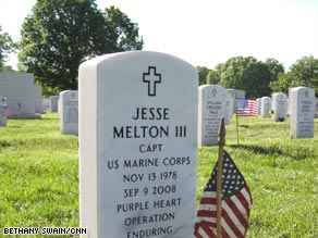 The gravesite of Capt. Jesse Milton is seen in Arlington National Cemetery.