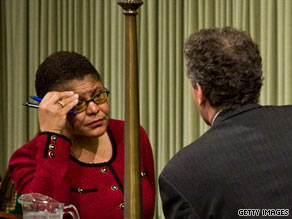 Assembly Speaker Karen Bass says blacks have been falsely accused of passing Prop 8.