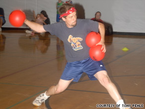 A WAKA Kickball player tries to make it to a base during a recent Florida playoff game.