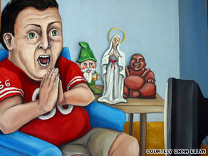 Super Bowl Sunday Praying for a Hail Mary was painted by  Dana Ellyn.