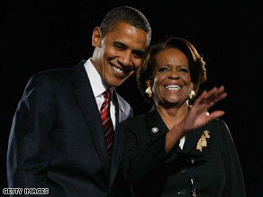 President-elect Barack Obama's mother-in-law Marian Robinson joins him on stage on election night.