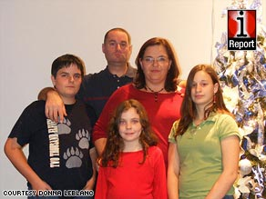 Sean, Brooke and Courtney with their parents, Donna and Robert LeBlanc, in a 2008 Christmas photo.