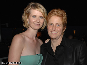 """Sex and the City"" star Cynthia Nixon and her partner Christine Marinoni, left, at a 2008 reception."