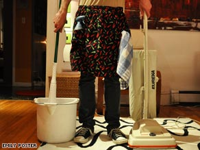 Some laid-off men take up the job of homemaker with enthusiasm.