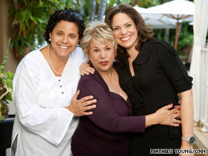 O&#039;Brien and CNN&#039;s Rose Arce, left, with Latina actor Lupe Ontiveros, center, in Los Angeles, California.