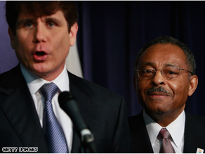 Illinois Gov. Rod Blagojevich, left, named Roland Burris to fill President-elect Barack Obama's Senate seat.