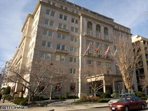 The hotel sits across Lafayette Square with great views of the White House.