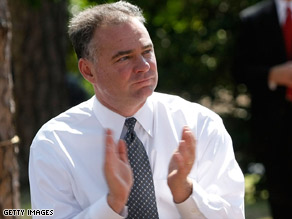 Virginia Gov. Tim Kaine claps during an August campaign event for Barack Obama in Virginia.