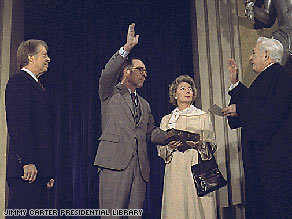 Griffin Bell is sworn in as attorney general in January 1977.