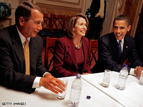President-elect Barack Obama talks with Rep. John Boehner and House Speaker Nancy Pelosi on Monday.