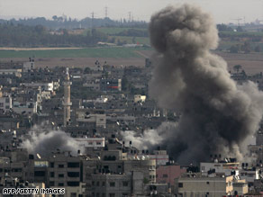 Smoke rises in Gaza City after an Israeli airstrike Thursday.