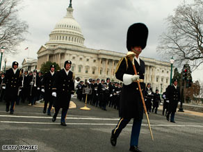 Marching bands practice in front of the U.S. Capitol during an inaugural rehearsal on Sunday.