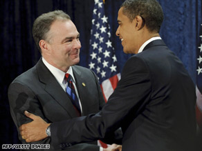 Virginia governor Tim Kaine is hoping the governor's mansion remains in Democratic hands.