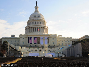 The Capitol seating area is prepped for the presidential inauguration January 20.