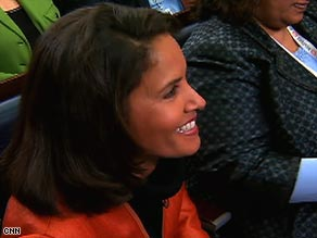 CNN's Suzanne Malveaux shares a light moment with President Bush during his final press conference Monday.