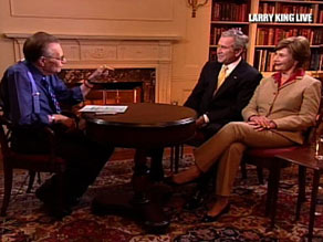 President Bush and first lady Laura Bush sit down with CNN's Larry King Live on Tuesday.
